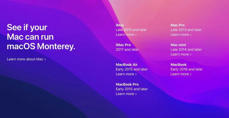 نام دستگاههای Mac سازگار با مک او اس مانتری اعلام شد