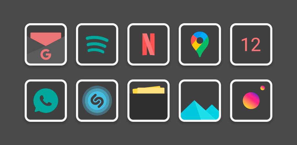 دانلود Flat Dark Square – Icon Pack 1.7 – آیکون پک تیره و متریال مخصوص اندروید