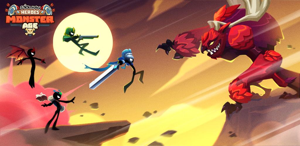 """دانلود Idle Stickman Heroes: Monster Age 1.0.11 – بازی اکشن-کلیکر """"استیکمن های قهرمان"""" اندروید + مود"""