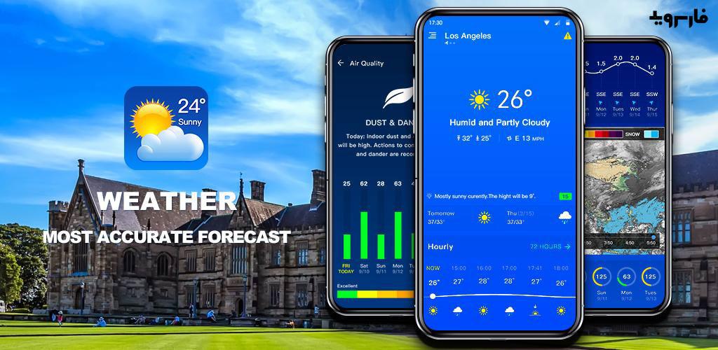 دانلود Weather Pro – The Most Accurate Weather App 1.0.8 – اپلیکیشن هواشناسی پرطرفدار مخصوص اندروید