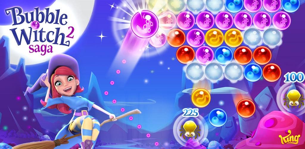 """دانلود Bubble Witch 2 Saga 1.126.0 – بازی پازل محبوب """"جادوگر حباب ها ۲"""" اندروید + مود"""
